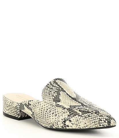 Cole Haan Piper Snake Print Leather Block Heel Loafer Mules