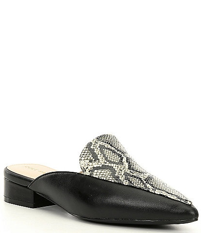 Cole Haan Piper Snake Print Leather Mules