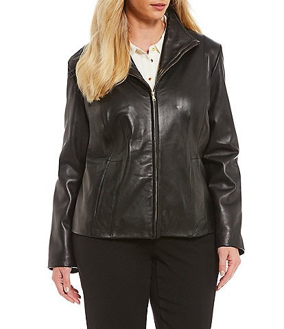 Cole Haan Plus Size Genuine Lambskin Leather Fitted Jacket