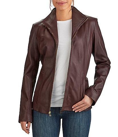 Cole Haan Short Zipper Genuine Lamb Leather Wing Collar Coat