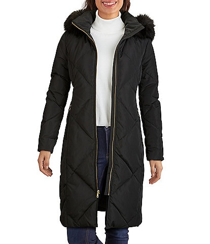 Cole Haan Signature Diamond Quilted Down Long Sleeve Faux Fur Hooded Coat