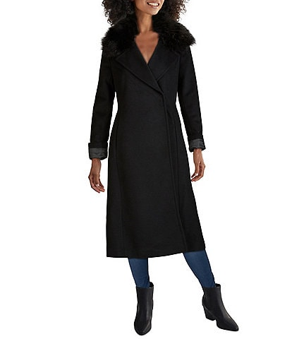 Cole Haan Signature Faux Fur Collar Wool Blend Belted Wrap Long Coat