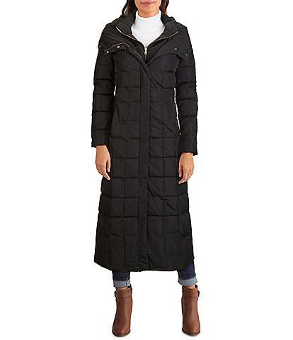 Cole Haan Signature Long Quilted Front Zip Down Puffer Hooded Long Coat
