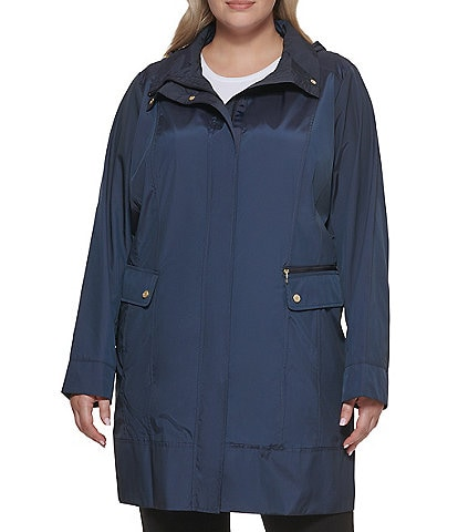 Cole Haan Signature Plus Size Single Breasted Packable Water Resistant Jacket