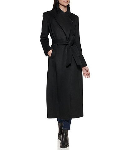Cole Haan Signature Wool Blend Single Breasted Belted Maxi Wrap Coat