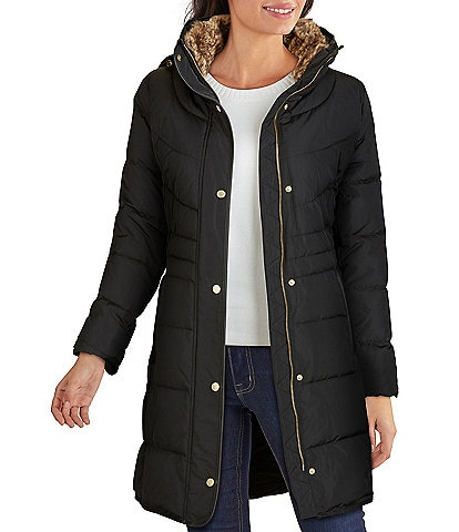 Cole Haan Signature Zip Front Faux Fur Lined Down Puffer Coat