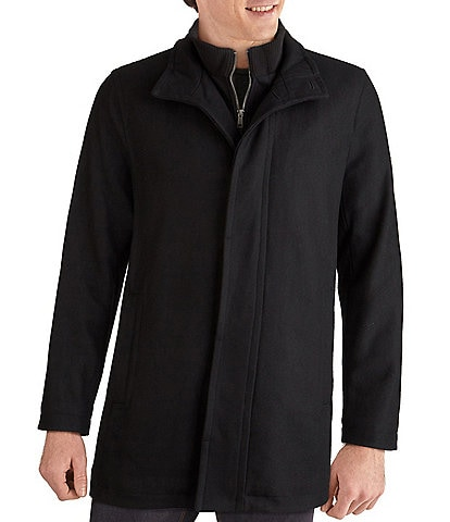 Cole Haan Stand-Collar Attached-Bib Wool Car Coat