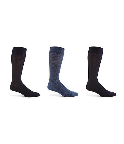 Cole Haan Textured Argyle Crew Dress Socks 3-Pack