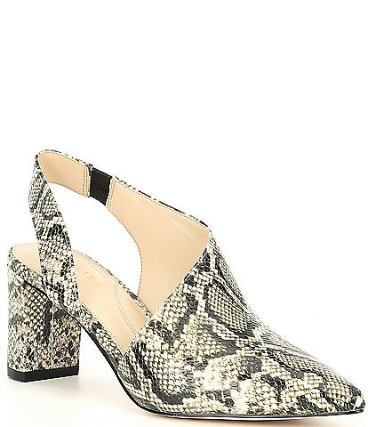 Cole Haan Vania Pointed Toe Python Leather Printed Pumps