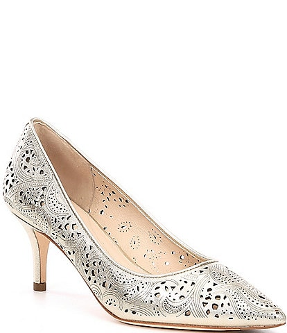 Cole Haan Vesta Metallic Perforated Leather Pumps