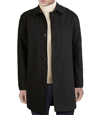 Cole Haan Welt-Pocket Collared Button Front Rain Coat
