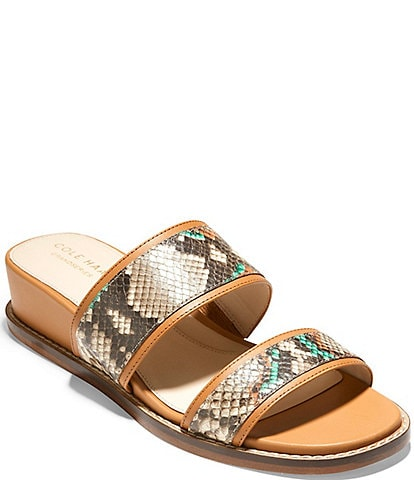 Cole Haan Wesley Snake Print Leather Demi Wedge Sandals