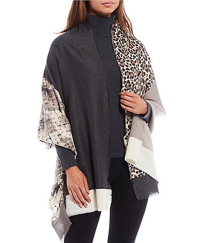 Collection 18 Supersoft Color Block Animal Print Wrap