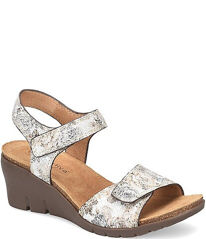 Comfortiva Abria Floral Adjustable Leather Wedge Sandals