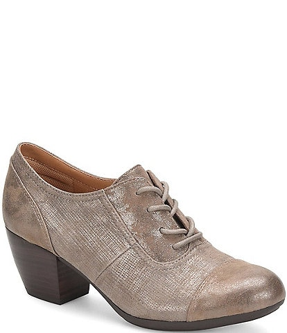 Comfortiva Angelique Distressed Foil Suede Oxford Block Heel Pumps