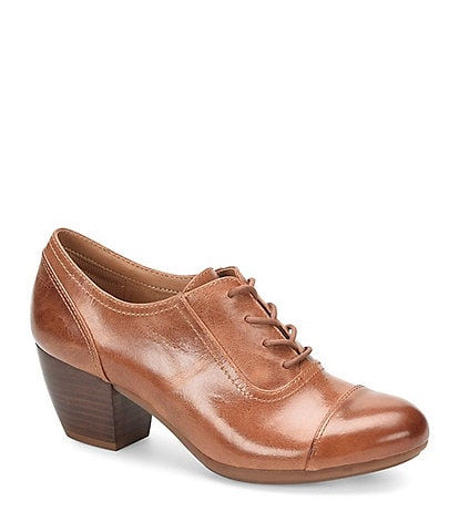Comfortiva Angelique Smooth Leather Cap Toe Block Heel Oxford Pumps