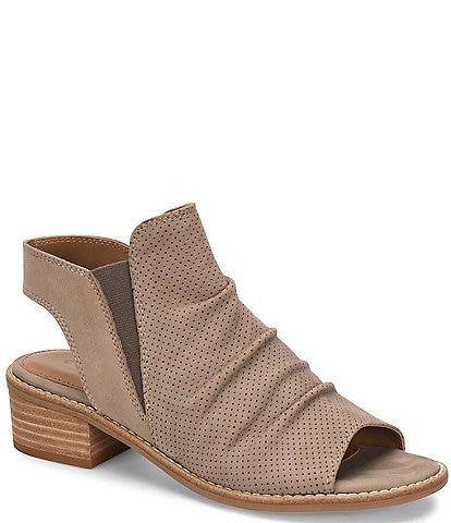 Comfortiva Belen Slingback Ruched Suede Block Heel Sandals
