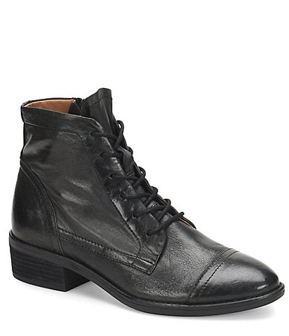 Comfortiva Cordia Lace-Up Cap Toe Leather Booties