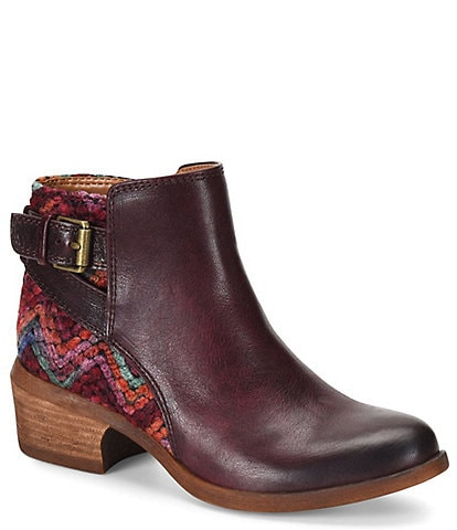 Comfortiva Creston Leather & Knit Block Heel Bootie
