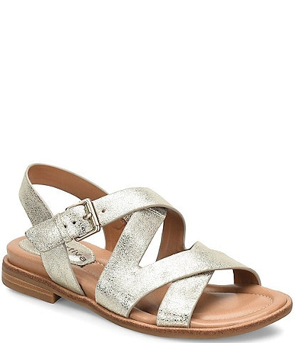 Comfortiva Devera Banded Metallic Leather Sandal