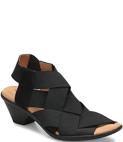 Comfortiva Farrow Elastic & Suede Block Heel Sandals