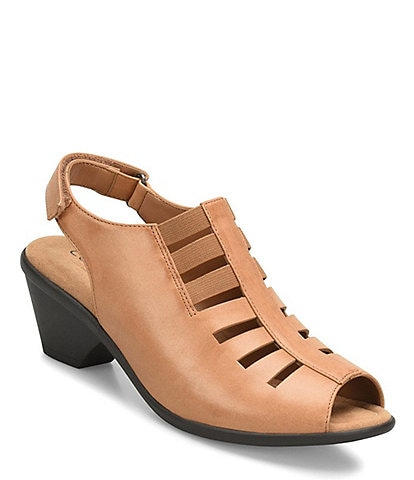 Comfortiva Faye Leather Block Heel Sandals