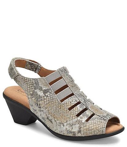Comfortiva Faye Snake Print Leather Slingback Sandals