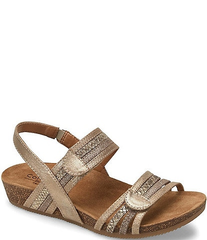 Comfortiva Gabrielle Mixed Leather Snake Print Sandals