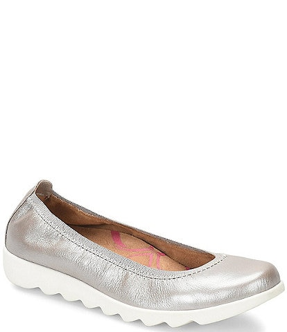 Comfortiva Grace Metallic Leather Elastic Skimmers Flats