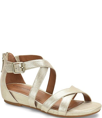 Comfortiva Melody Leather Demi-Wedge Sandals