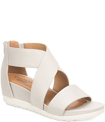 Comfortiva Pacifica Leather Criss-Cross Strap Sporty Wedge Sandals