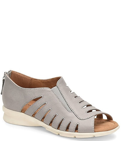 Comfortiva Parker Leather Cut-Out Wedge Sandals