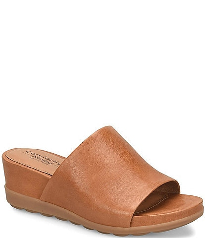 Comfortiva Pax Leather Wrapped Wedge Slides