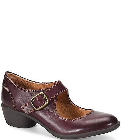 Comfortiva Quanita Leather Block Heel Platform Mary-Jane