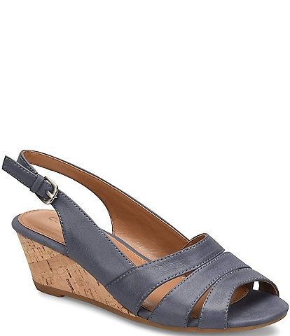Comfortiva Randi Slingback Cork Wedge Sandals