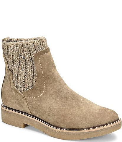 Comfortiva Rawnie Suede Sweater Knit Block Heel Chelsea Booties