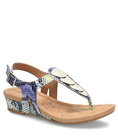 Comfortiva Summit Snake Print Leather Thong Sandals