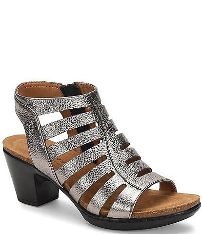 Comfortiva Viona Metallic Leather Caged Dress Sandals