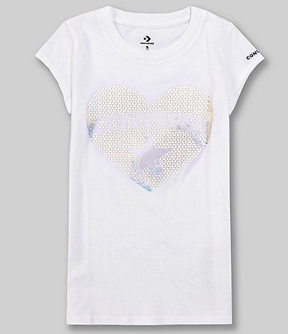 Converse Big Girls 7-16 Short-Sleeve Faux-Sequin Heart Graphic Tee