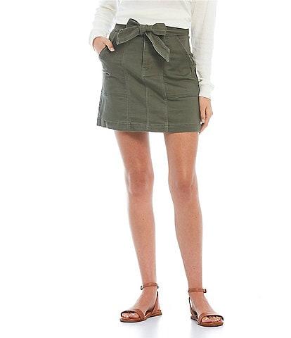 Copper Key Belted Cargo Mini Skirt