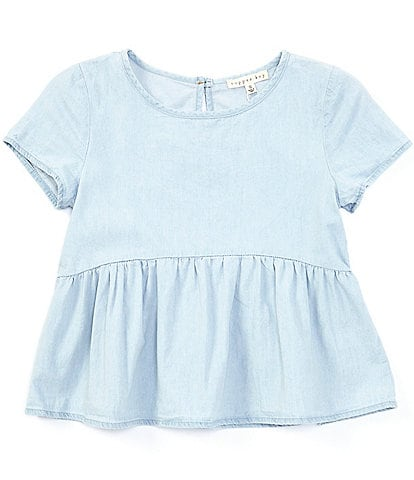 Copper Key Big Girls 7-16 Cap-Sleeve Chambray Top