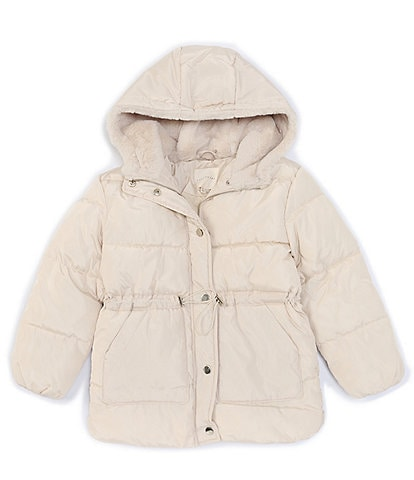Copper Key Big Girls 7-16 Faux-Fur Hooded Quilted Puffer Snow Ski Short Parka