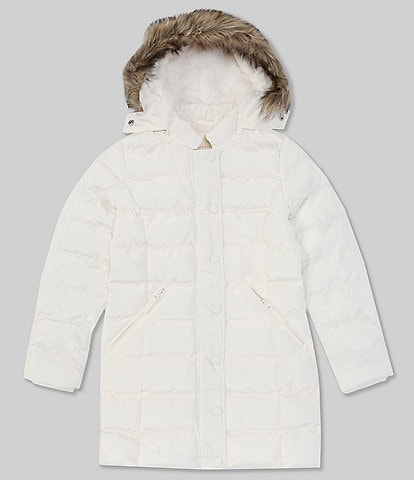 Copper Key Big Girls 7-16 Faux-Fur Trim Fleece Lined Hooded Quilted Puffer Snow Ski Coat