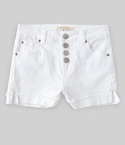 Copper Key Big Girls 7-16 High Waisted Button Front Frayed Hem Denim Shorts