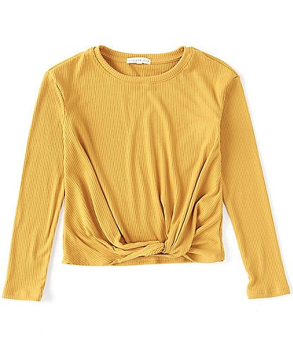 Copper Key Big Girls 7-16 Long-Sleeve Knit Knotted Tee