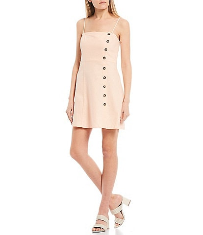 Copper Key Button Front Spaghetti Strap Dress