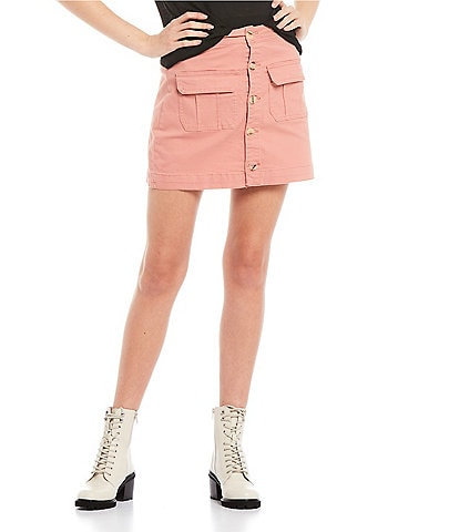 Copper Key Button Front Mini Pocket Skirt