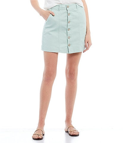 Copper Key Button Front Mini Skirt