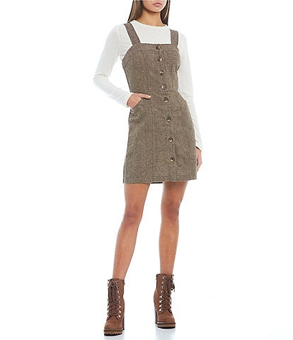 Copper Key Button Front Tweed Pinafore Dress