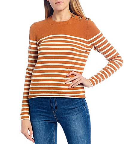 Copper Key Button Shoulder Striped Mockneck Sweater